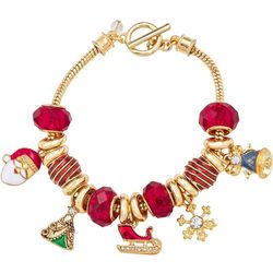 Napier Holiday Charms Red Bead Toggle Bracelet