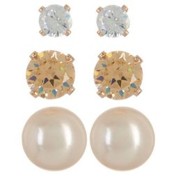 Napier 3-pc. Rose Gold Tone Stud Earring Set