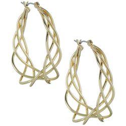 Napier Gold Tone Twisting Hoop Earrings