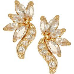 Napier Gold Tone Small CZ Swirl Stud Earrings