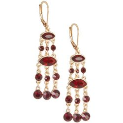 Napier Red Stone & Gold Tone Chain Links Earrings