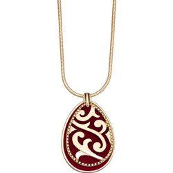 Napier Red Velvet Teardrop Filigree Pendant Necklace