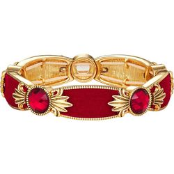 Napier Red Velvet & Multi-Faceted Stones Stretch Bracelet