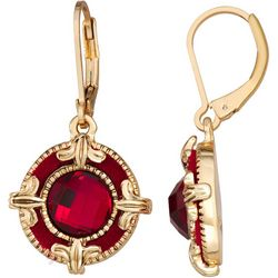 Napier Red Velvet & Multi-Faceted Round Drop Earrings