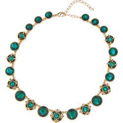 Napier Green Velvet & Facet Link Collar Necklace