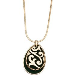 Napier Green Velvet Teardrop Pendant Necklace