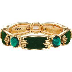 Napier Green Velvet & Facet Link Stretch Bracelet