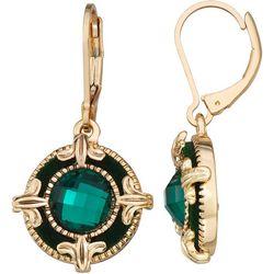 Napier Green Velvet & Facet Round Drop Earrings