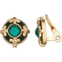 Napier Green Round Button Clip Earrings