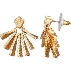 Napier Textured Fan Post Top Earrings