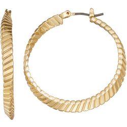 Napier Gold Tone Textured Twist Hoop Earring