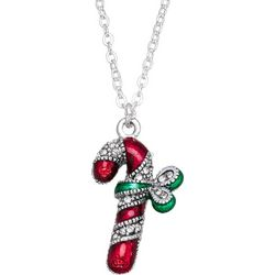 Napier Holiday Candy Cane Pendant Necklace