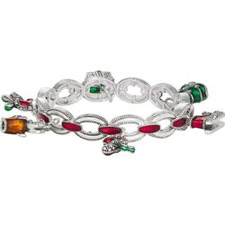 Napier Holiday Enamel Charm Stretch Bracelet