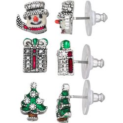 Napier 3-pc. Holiday Snowman Tree Stud Earring Set