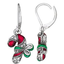 Napier Holiday Candy Cane Drop Earrings