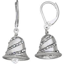 Napier Small Silver Rhinestone Bell Drop Earrings