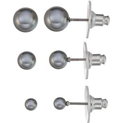 Napier Grey Pearl Trio Stud Earring Set