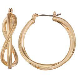 Napier Criss Cross Textured Hoop Earrings