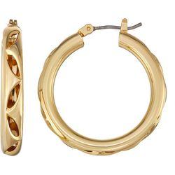 Napier Gold Tone Cut Out Tubular Hoop Earrings