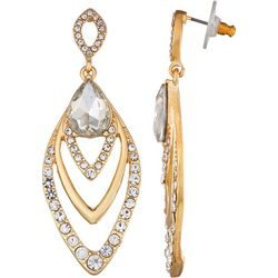 Napier Crystal & Gold Tone Chandelier Earrings