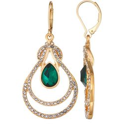 Napier Green & Crystal Chandelier Earrings
