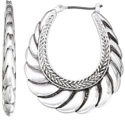 Napier Silver Tone Textured Click It Hoop Earrings
