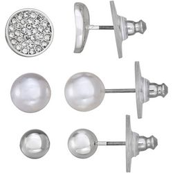 Napier Pave Rhinestone & Faux Pearl Stud Earring Set
