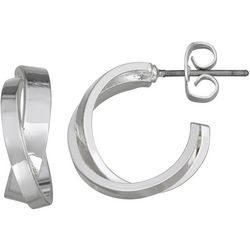 Napier Silver Tone Crisscross Hoop Earrings