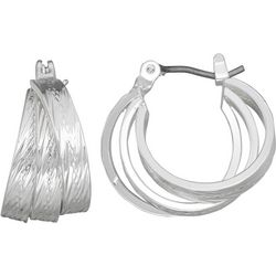 Napier Textured Triple Row Click It Hoop Earrings