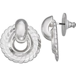 Napier Silver Tone Textured Ring Earrings