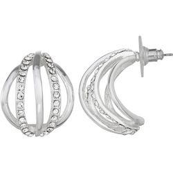 Napier Rhinestones Silver Tone Small C Hoop Earrings