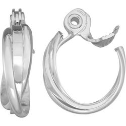 Napier Silver Tone Twist Clip On Hoop Earrings