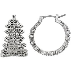 Napier Silver Tone Textured Wide Hoop Earrings