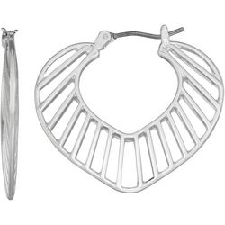 Napier Silver Tone Cutout Leaf Hoop Earrings