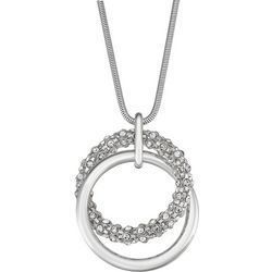 Napier Double Ring Crystal Pendant Necklace