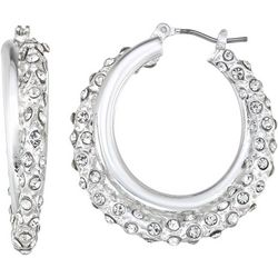 Napier Silver Tone & Pave Rhinestone Hoop Earrings