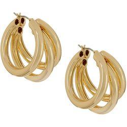 Napier Gold Tone 30mm Triple Row Hoop Earrings
