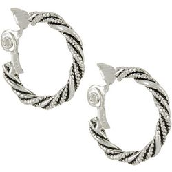 Napier Silver Tone Twisted Hoop Clip On Earrings