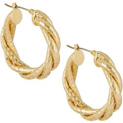 Napier Gold Tone 30mm Twisted Textured Hoop Earrings
