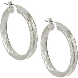 Napier Silver Tone 40mm Textured Click It Hoop Earrings