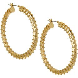 Napier Gold Tone Large Ribbed Hoop Earrings
