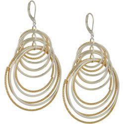 Napier Two Tone Orbital Hoop Dangle Earrings
