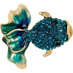 Napier Boxed Teal Blue Rhinestone Fancy Fish Pin