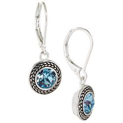 Napier Blue Round Stone Dangle Earrings