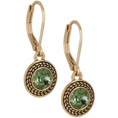 Napier Green Stones Textured Drop Earrings