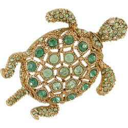 Napier Boxed Green Rhinestone Turtle Pin