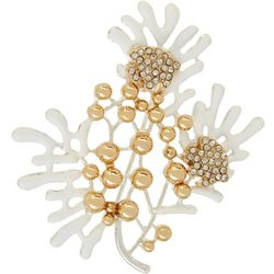 Napier White Enamel Coral Reef Fan & Fish Pin