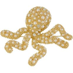 Napier Gold Tone Pave Faux Pearl Octopus Pin