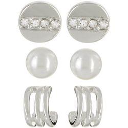 Napier 3-pc. Faux Pearl Disc & Hoop Stud Earring Set