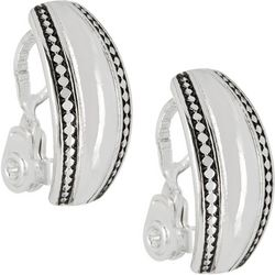 Napier Silver Tone Flat Hoop Clip On Earrings